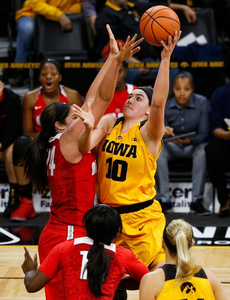 Iowa Hawkeyes forward Megan Gustafson (10) puts up a shot during a game against the Ohio State Buckeyes at Carver-Hawkeye Arena on January 25, 2018. (Tork Mason/hawkeyesports.com)