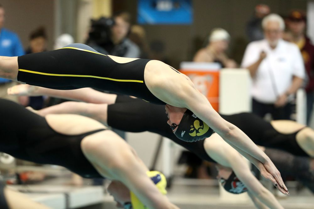 Iowa's Allyssa Fluit swims the 500-yard freestyle during the 2019 Women's Big Ten Swimming and Diving meet Thursday, February 21, 2019 in Bloomington, Indiana. (Brian Ray/hawkeyesports.com)