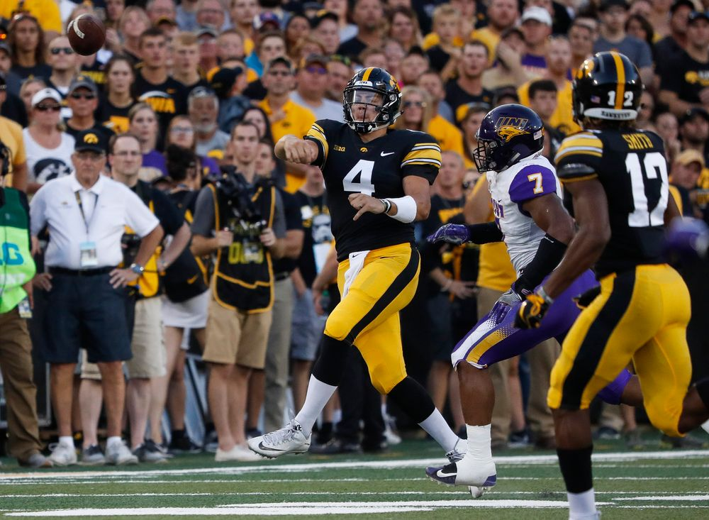 Iowa Hawkeyes quarterback Nate Stanley (4) passes the ball during a game against Northern Iowa at Kinnick Stadium on September 15, 2018. (Tork Mason/hawkeyesports.com)