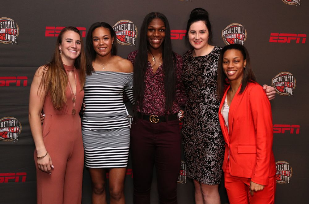 Iowa Hawkeyes forward Megan Gustafson (10) and the other Wooden Award finalists on the red carpet before the ESPN College Basketball Awards show Friday, April 12, 2019 at The Novo at LA Live.  (Brian Ray/hawkeyesports.com)