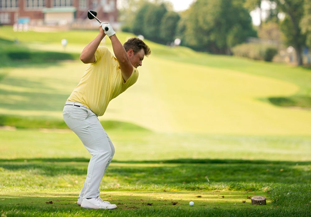 Iowa's Alex Schaake tees off during the third day of the Golfweek Conference Challenge at the Cedar Rapids Country Club in Cedar Rapids on Tuesday, Sep 17, 2019. (Stephen Mally/hawkeyesports.com)