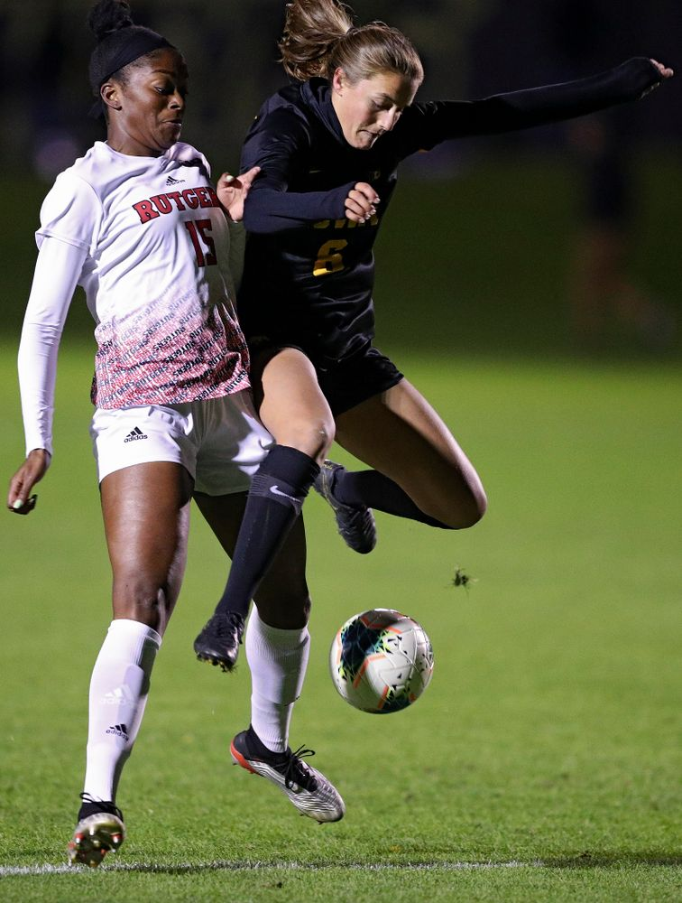 Iowa midfielder Isabella Blackman (6) tries to gain position on the ball during the first half of their match at the Iowa Soccer Complex in Iowa City on Friday, Oct 11, 2019. (Stephen Mally/hawkeyesports.com)