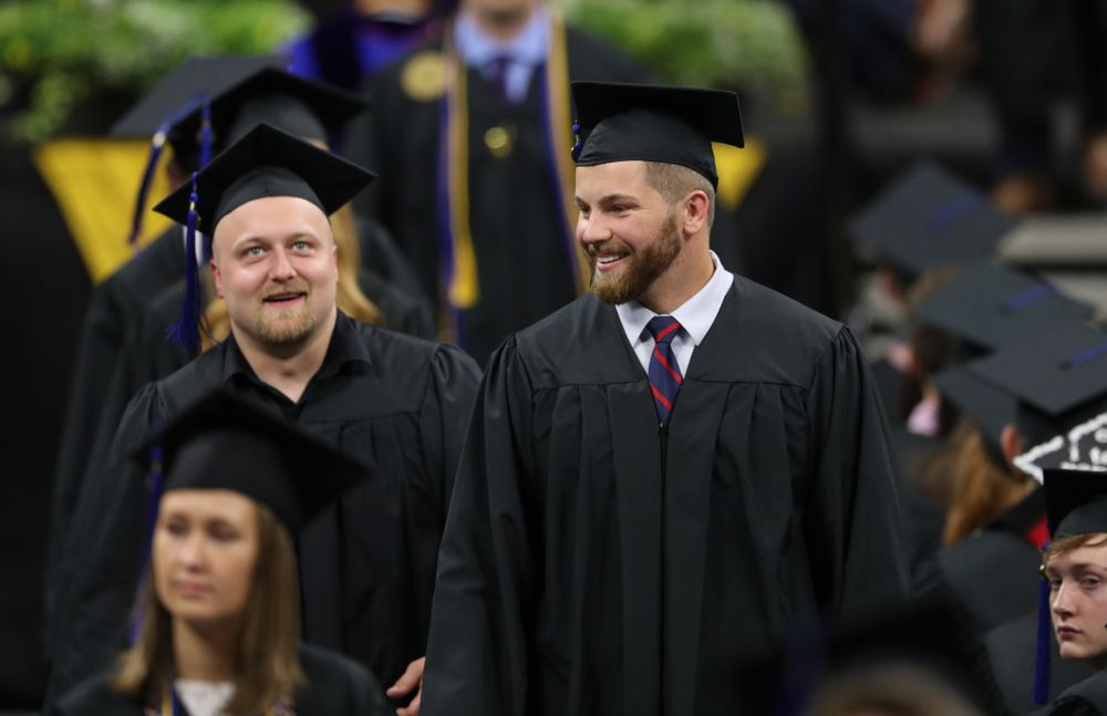 Hawkeye FootballÕs Brady Ross and Jackson Subbert during the Tippie College of Business spring commencement Saturday, May 11, 2019 at Carver-Hawkeye Arena. (Brian Ray/hawkeyesports.com)