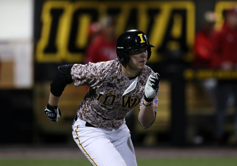 Iowa Hawkeyes Zeb Adreon (5) drives in the game winning run in the bottom of the 9th against the Nebraska Cornhuskers on Military Appreciation Night Friday, April 19, 2019 at Duane Banks Field. (Brian Ray/hawkeyesports.com)