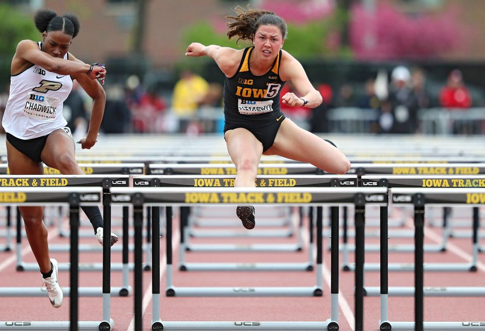Iowa's Jenny Kimbro runs the women's 100 meter hurdles event on the second day of the Big Ten Outdoor Track and Field Championships at Francis X. Cretzmeyer Track in Iowa City on Saturday, May. 11, 2019. (Stephen Mally/hawkeyesports.com)