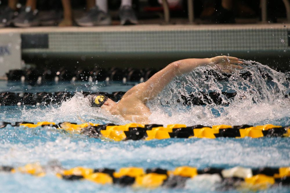 The Iowa A team competes in the 800-yard freestyle relay at the 2019 Big Ten Swimming and Diving meet  Wednesday, February 27, 2019 at the Campus Wellness and Recreation Center. (Lily Smith/hawkeyesports.com)