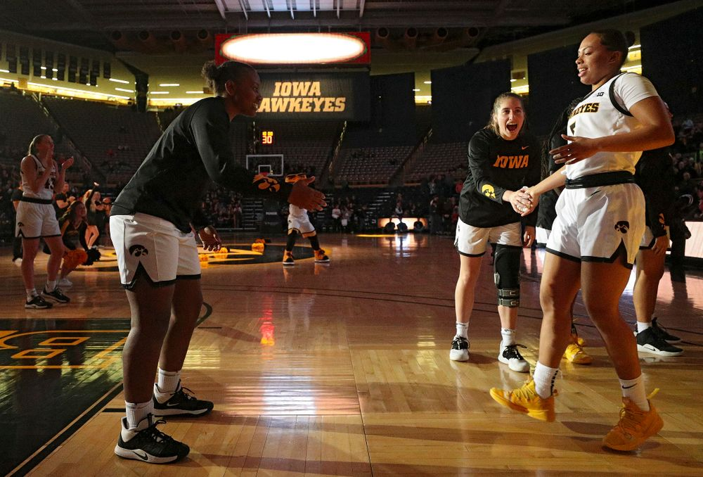 Iowa guard Alexis Sevillian (5) is introduced before their overtime win against Princeton at Carver-Hawkeye Arena in Iowa City on Wednesday, Nov 20, 2019. (Stephen Mally/hawkeyesports.com)