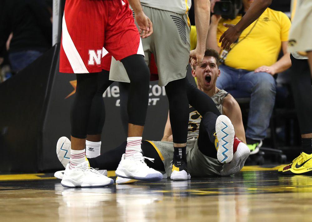 Iowa Hawkeyes guard Jordan Bohannon (3) reacts after drawing a charging foul against the Nebraska Cornhuskers Sunday, January 6, 2019 at Carver-Hawkeye Arena. (Brian Ray/hawkeyesports.com)