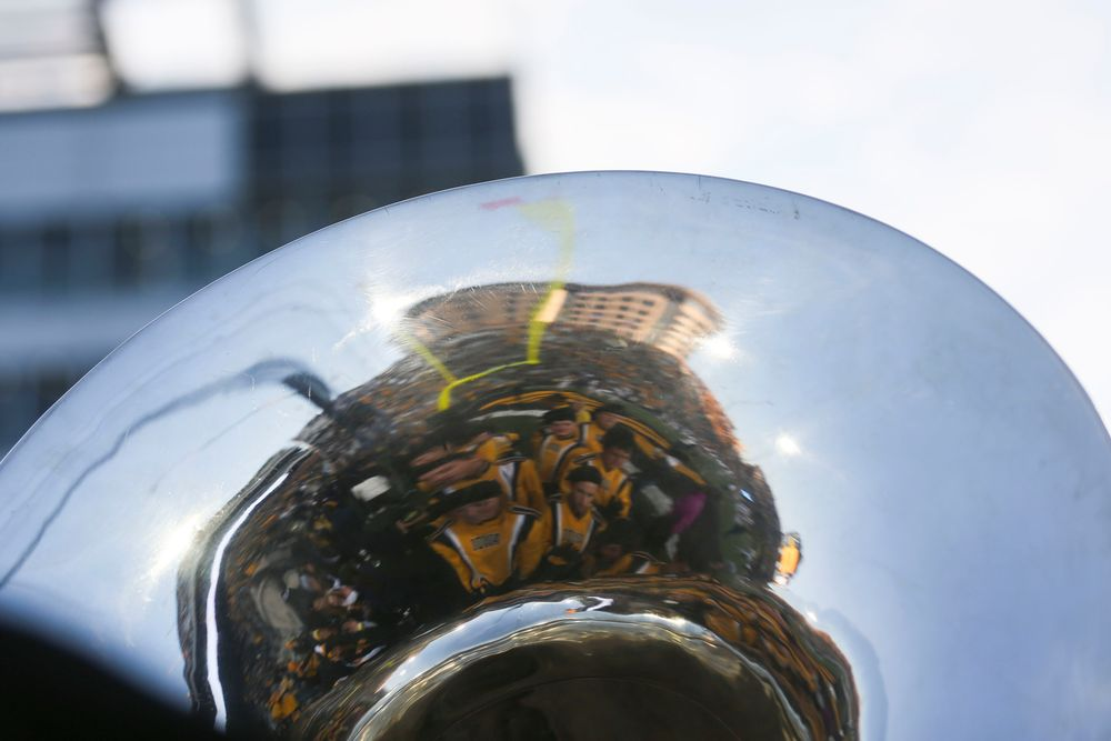 The University of Iowa Stead Family Children's Hospital is seen in the reflection of a tuba  during Iowa football vs Penn State on Saturday, October 12, 2019 at Kinnick Stadium. (Lily Smith/hawkeyesports.com)