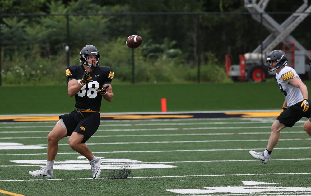Iowa Hawkeyes tight end T.J. Hockenson (38) during practice No. 4 of Fall Camp Monday, August 6, 2018 at the Hansen Football Performance Center. (Brian Ray/hawkeyesports.com)