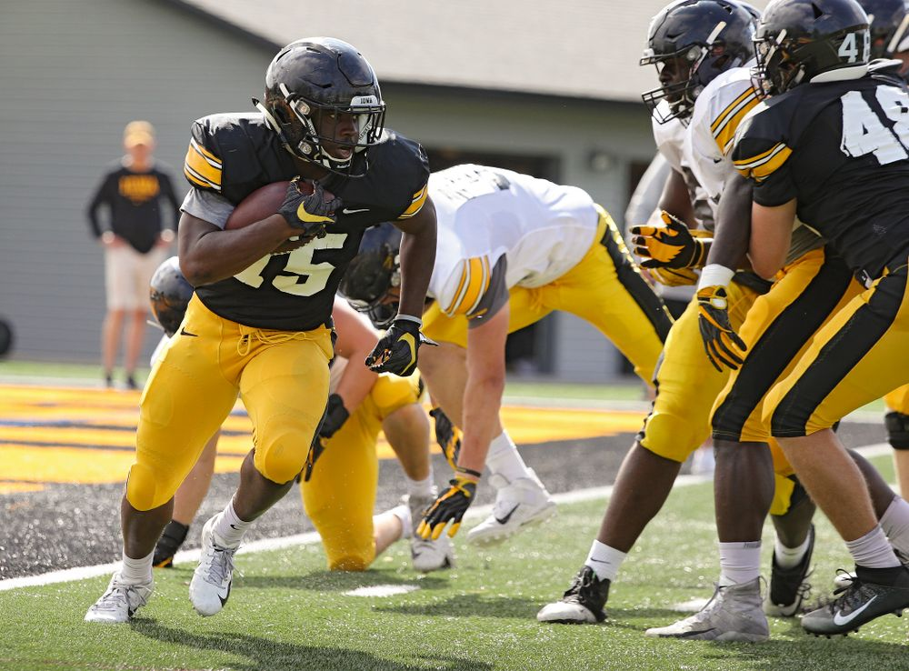 Iowa Hawkeyes running back Tyler Goodson (15) on a run during Fall Camp Practice No. 11 at the Hansen Football Performance Center in Iowa City on Wednesday, Aug 14, 2019. (Stephen Mally/hawkeyesports.com)