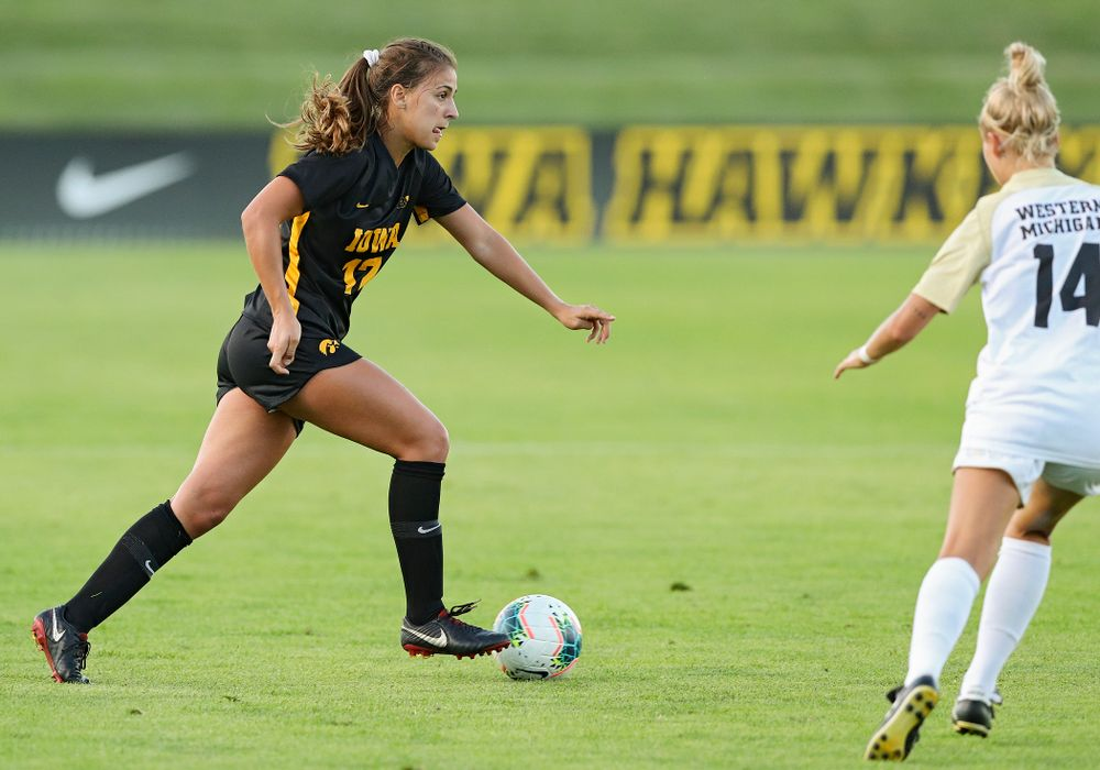 Iowa defender Hannah Drkulec (17) looks to pass during the first half of their match against Western Michigan at the Iowa Soccer Complex in Iowa City on Thursday, Aug 22, 2019. (Stephen Mally/hawkeyesports.com)