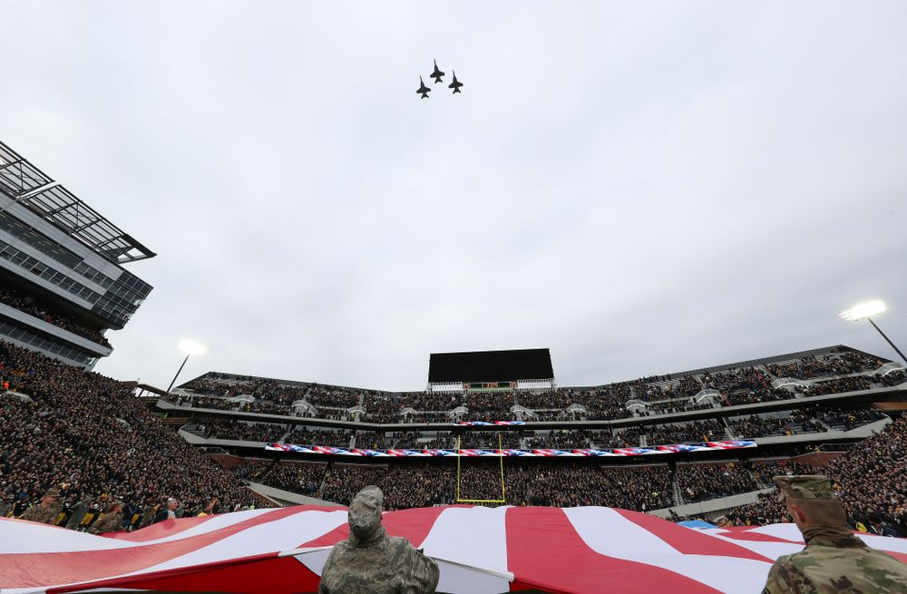Thee F/A -18 fighters fly over before the Iowa Hawkeyes game against the Northwestern Wildcats Saturday, November 10, 2018 at Kinnick Stadium. (Brian Ray/hawkeyesports.com)