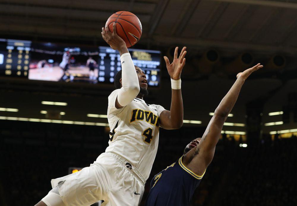Iowa Hawkeyes guard Isaiah Moss (4) against the Michigan Wolverines Friday, February 1, 2019 at Carver-Hawkeye Arena. (Brian Ray/hawkeyesports.com)