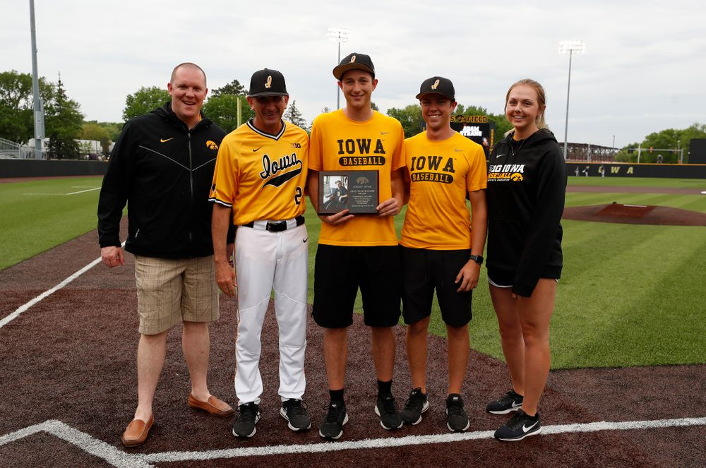 Manager Adam Strang during senior day activities before their game against the Penn State Nittany Lions Saturday, May 19, 2018 at Duane Banks Field. (Brian Ray/hawkeyesports.com)