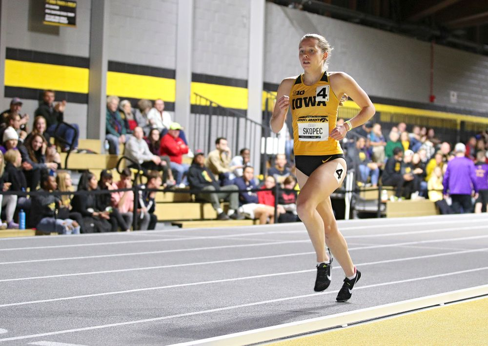 Iowa's Gabby Skopec runs the women's 1 mile run event during the Jimmy Grant Invitational at the Recreation Building in Iowa City on Saturday, December 14, 2019. (Stephen Mally/hawkeyesports.com)