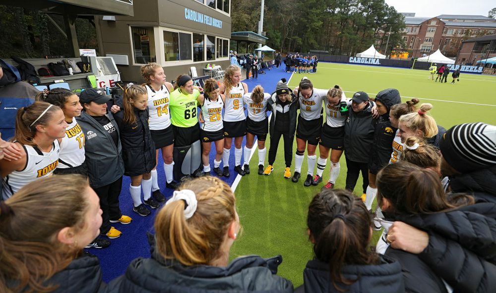 Iowa head coach Lisa Cellucci talks with her team after winning their NCAA Tournament First Round match against Duke at Karen Shelton Stadium in Chapel Hill, N.C. on Friday, Nov 15, 2019. (Stephen Mally/hawkeyesports.com)