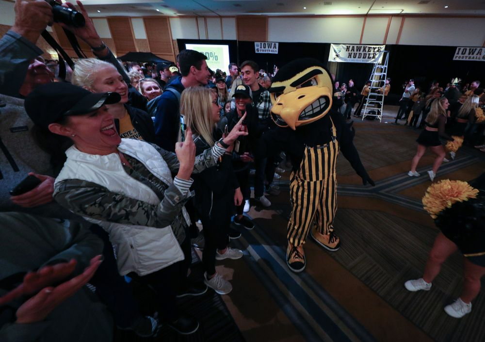 Herky The Hawk during the Holiday Bowl Hawkeye Huddle Thursday, December 26, 2019 at the Hilton in downtown San Diego. (Brian Ray/hawkeyesports.com)