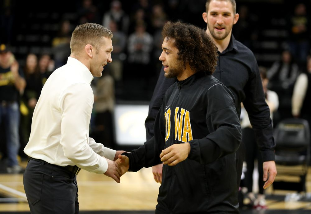 Iowa's Jeremiah Moody during senior day activities Sunday, February 23, 2020 at Carver-Hawkeye Arena. (Brian Ray/hawkeyesports.com)