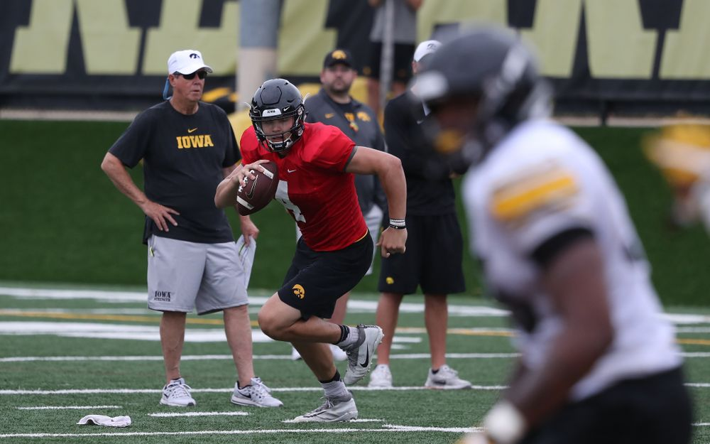 Iowa Hawkeyes quarterback Nathan Stanley (4) during practice No. 4 of Fall Camp Monday, August 6, 2018 at the Hansen Football Performance Center. (Brian Ray/hawkeyesports.com)