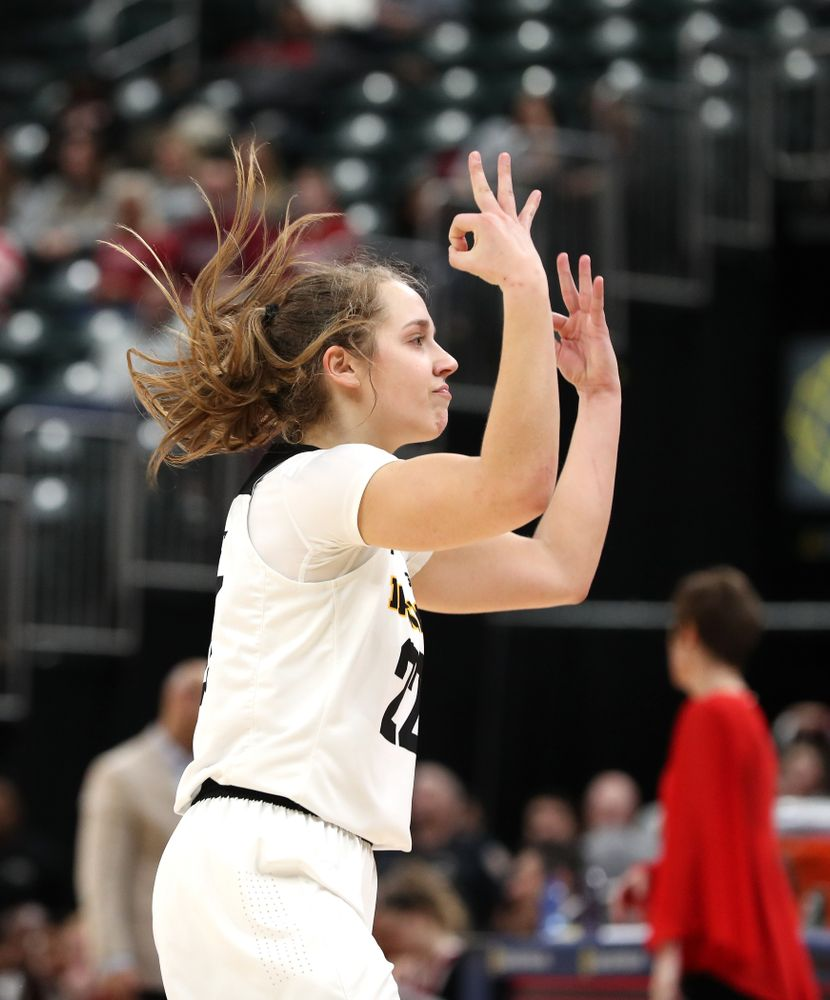 Iowa Hawkeyes guard Kathleen Doyle (22) against the Indiana Hoosiers in the quarterfinals of the Big Ten Tournament Friday, March 8, 2019 at Bankers Life Fieldhouse in Indianapolis, Ind. (Brian Ray/hawkeyesports.com)