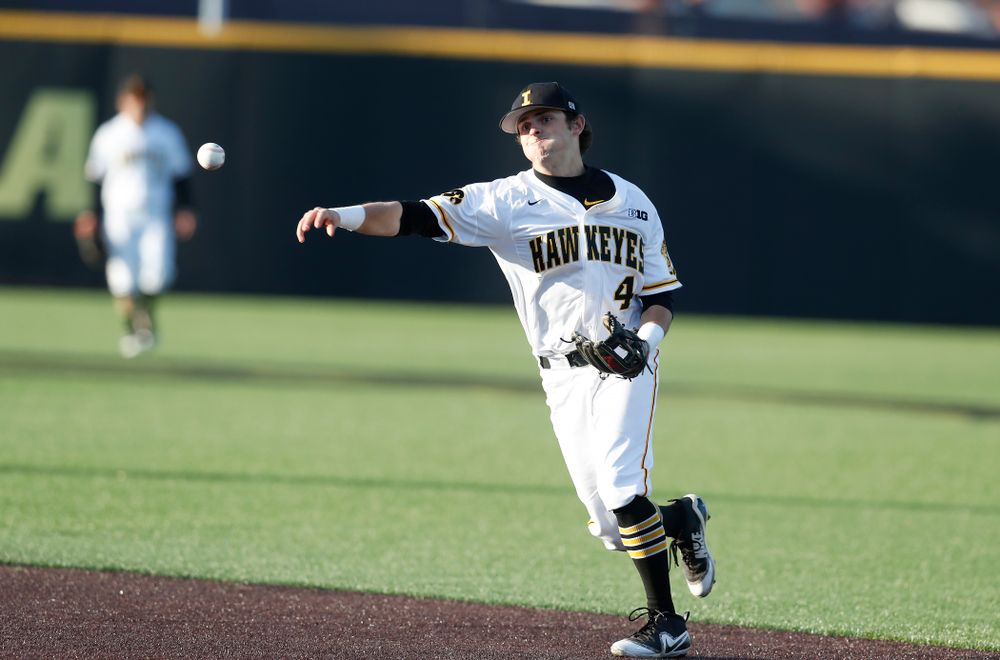 Iowa Hawkeyes infielder Mitchell Boe (4) against Northern Illinois Tuesday, April 17, 2018 at Duane Banks Field. (Brian Ray/hawkeyesports.com)