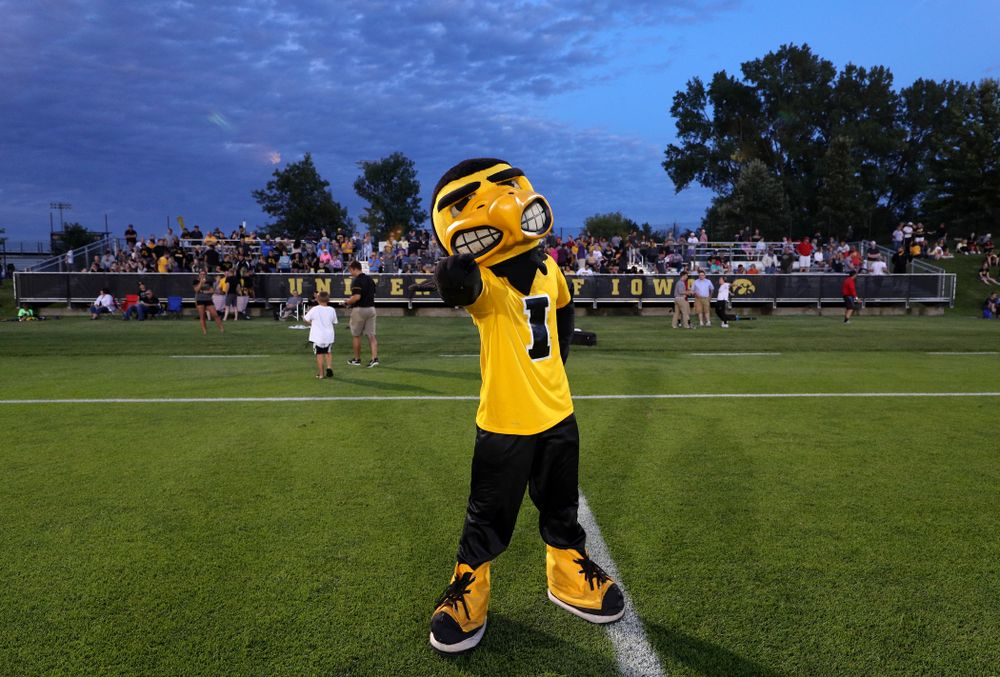 Herky The Hawk during a 2-1 victory over the Iowa State Cyclones Thursday, August 29, 2019 in the Iowa Corn Cy-Hawk series at the Iowa Soccer Complex. (Brian Ray/hawkeyesports.com)