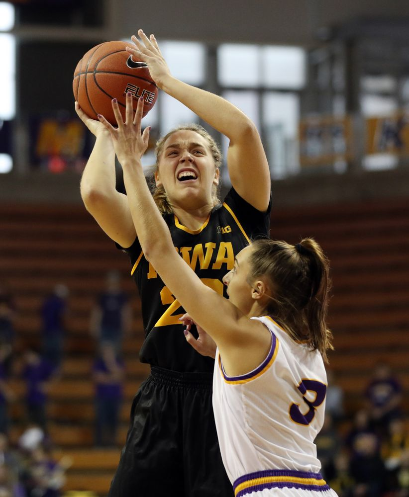 Iowa Hawkeyes guard Kathleen Doyle (22) against Northern Iowa Sunday, November 17, 2019 at the McLeod Center. (Brian Ray/hawkeyesports.com)