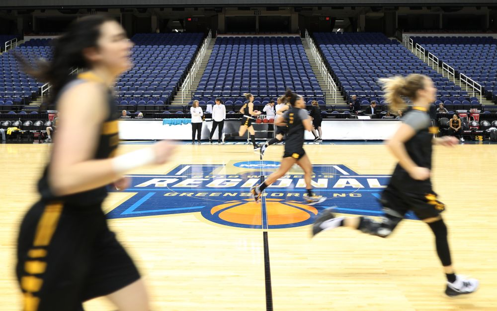 The Iowa Hawkeyes during practice and media before the regional final of the 2019 NCAA Women's College Basketball Tournament against the Baylor Bears Sunday, March 31, 2019 at Greensboro Coliseum in Greensboro, NC.(Brian Ray/hawkeyesports.com)
