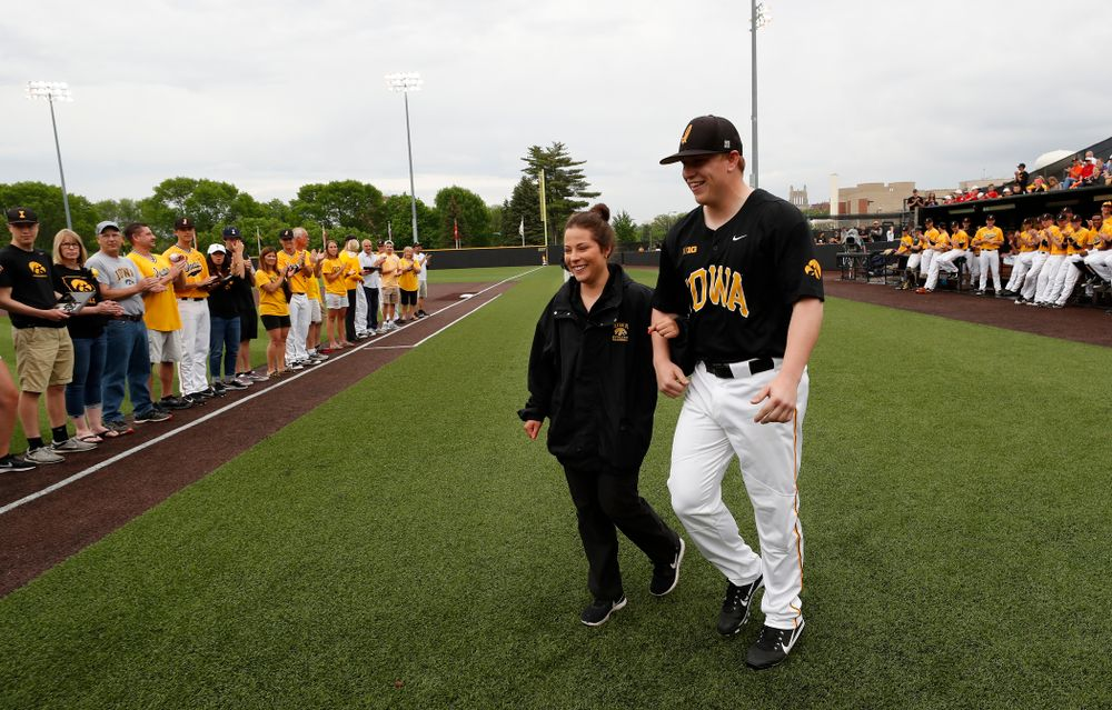 during senior day activities before their game against the Penn State Nittany Lions Saturday, May 19, 2018 at Duane Banks Field. (Brian Ray/hawkeyesports.com)
