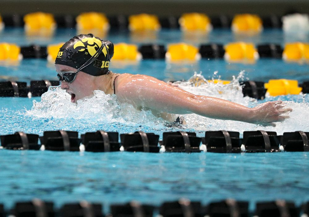 Iowa's Kelsey Drake swims the women's 200-yard butterfly event during their meet against Michigan State and Northern Iowa at the Campus Recreation and Wellness Center in Iowa City on Friday, Oct 4, 2019. (Stephen Mally/hawkeyesports.com)