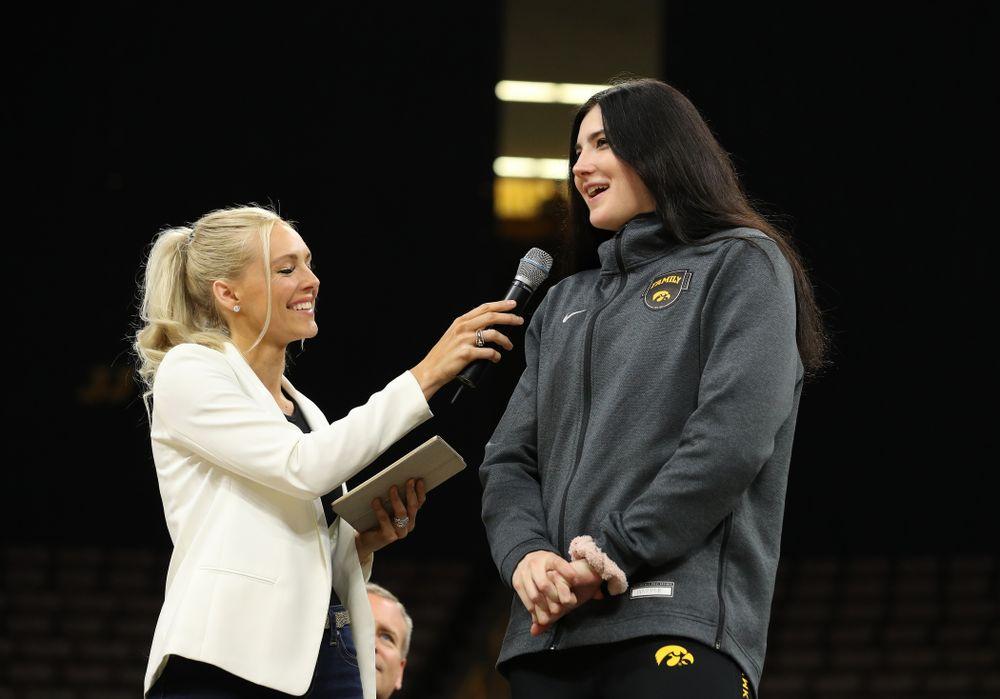 Laura Vandenberg interviews Iowa Hawkeyes forward Megan Gustafson (10) during the teamÕs Celebr-Eight event Wednesday, April 24, 2019 at Carver-Hawkeye Arena. (Brian Ray/hawkeyesports.com)