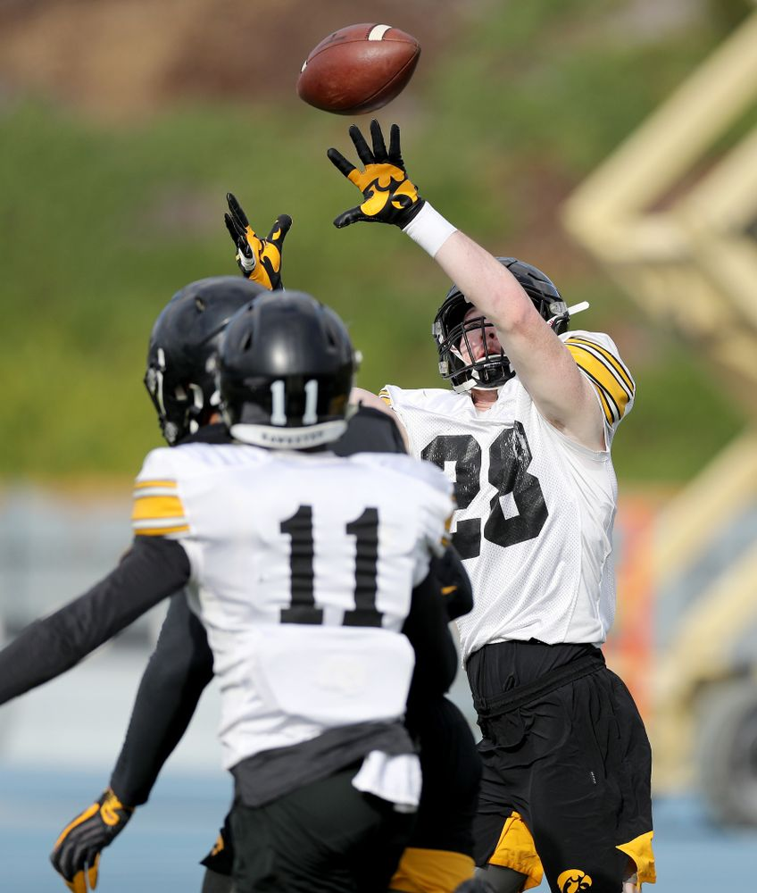 Iowa Hawkeyes defensive back Jack Koerner (28) during Holiday Bowl Practice No. 3  Tuesday, December 24, 2019 at San Diego Mesa College. (Brian Ray/hawkeyesports.com)