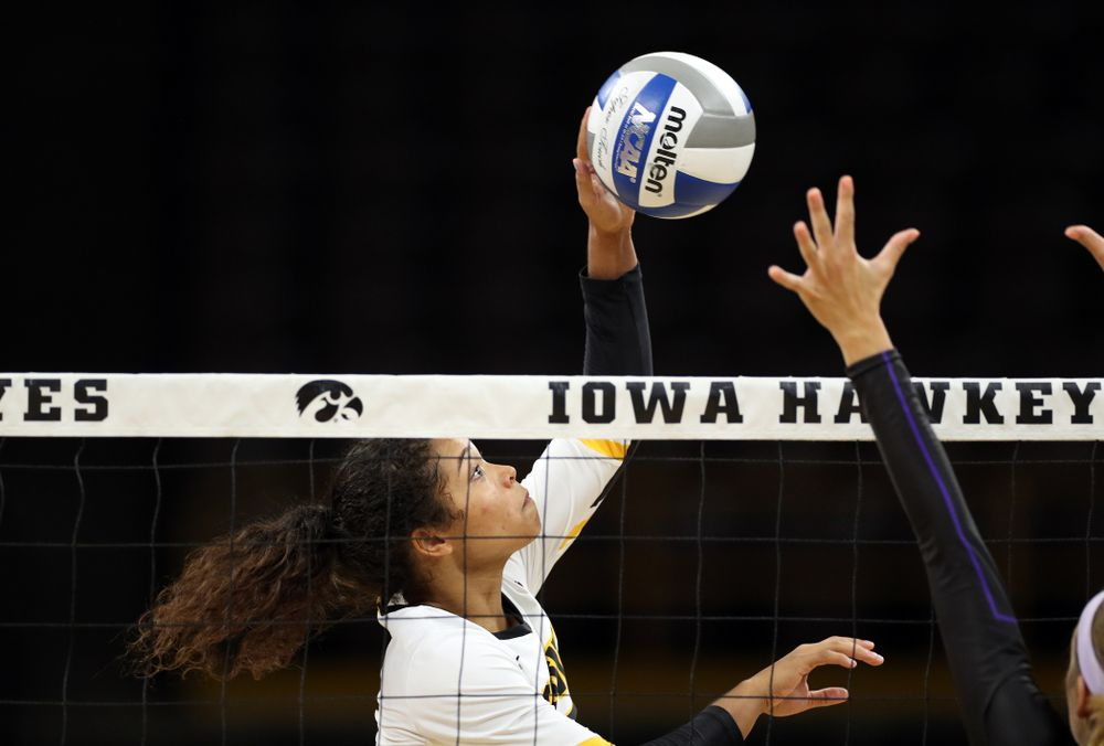 Iowa Hawkeyes setter Brie Orr (7) against Lipscomb Friday, September 20, 2019 at Carver-Hawkeye Arena. (Brian Ray/hawkeyesports.com)