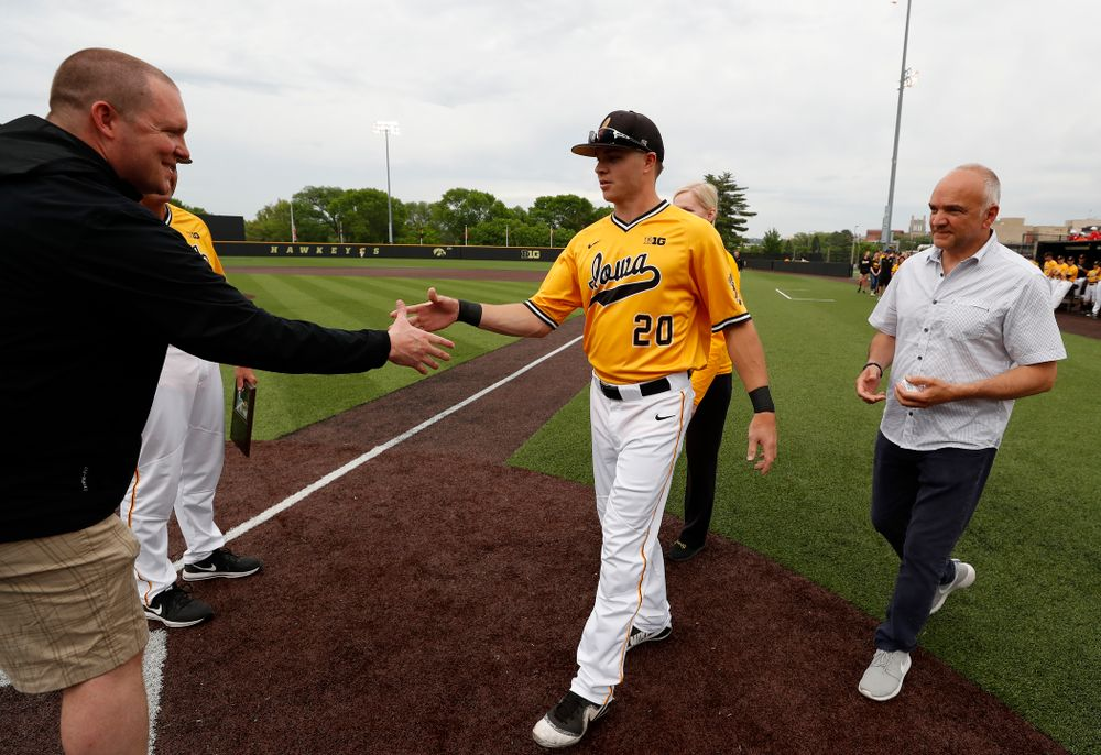 Iowa Hawkeyes catcher Austin Guzzo (20) during senior day activities before their game against the Penn State Nittany Lions Saturday, May 19, 2018 at Duane Banks Field. (Brian Ray/hawkeyesports.com)