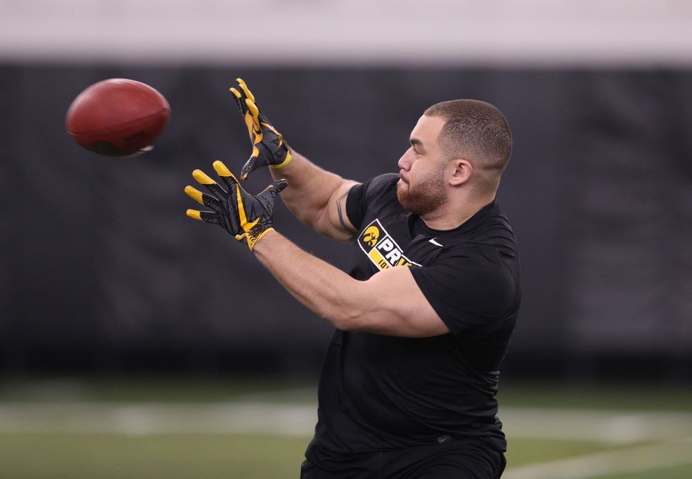 Iowa Hawkeyes tight end Tommy Kujawa (46) during the teamÕs annual Pro Day Monday, March 25, 2019 at the Hansen Football Performance Center. (Brian Ray/hawkeyesports.com)