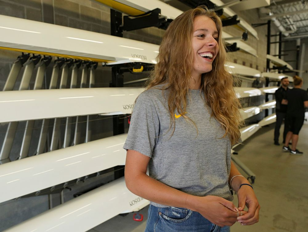 Iowa's Eve Stewart answers a question during media availability at the P. Sue Beckwith, M.D., Boathouse in Iowa City on Wednesday, Apr. 10, 2019. (Stephen Mally/hawkeyesports.com)