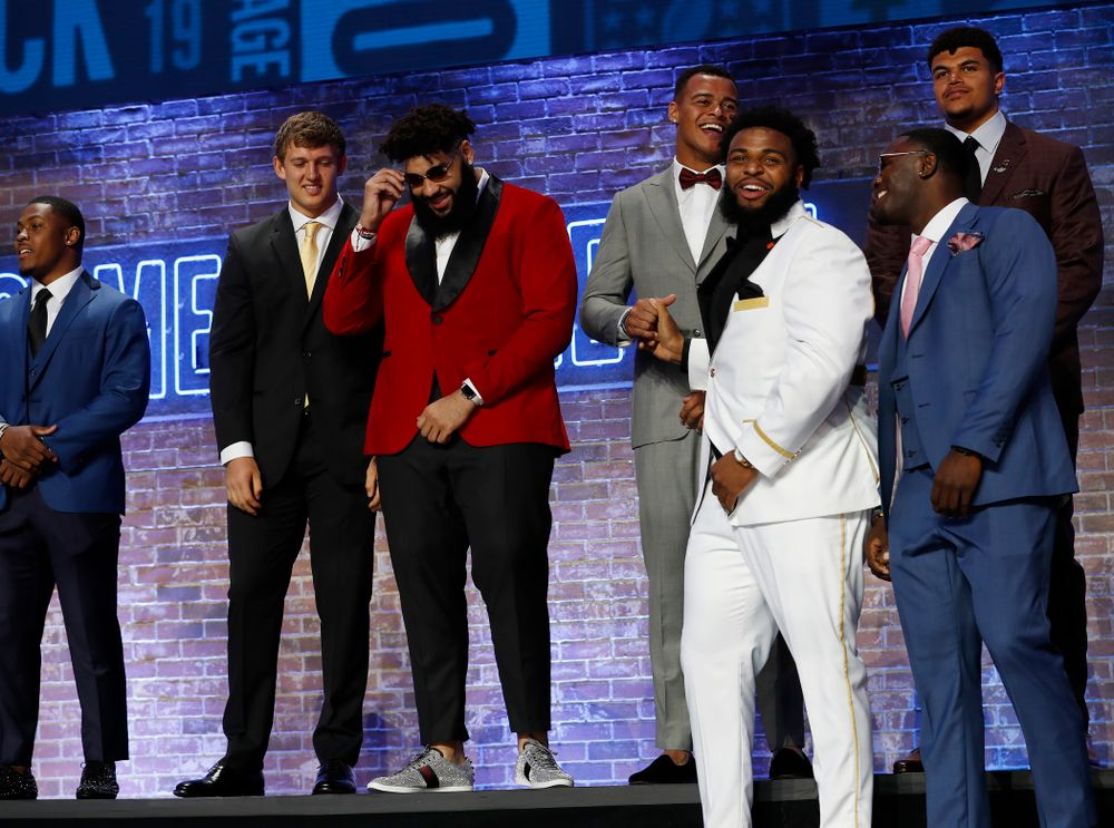 Iowa's T.J. Hockenson and Noah Fant on stage before the first round of the 2019 NFL Draft Thursday, April 25, 2019 in Nashville. (Darren Miller/hawkeyesports.com)