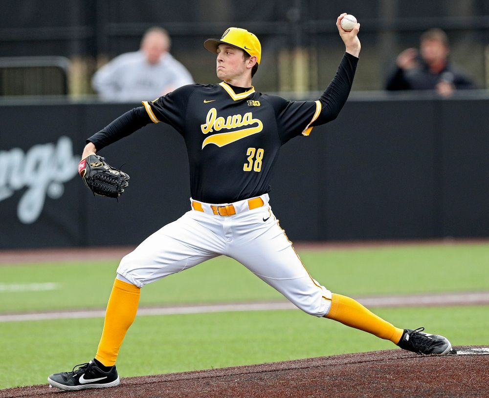 Iowa Hawkeyes pitcher Trenton Wallace (38) delivers to the plate during the first inning of their game against Illinois State at Duane Banks Field in Iowa City on Wednesday, Apr. 3, 2019. (Stephen Mally/hawkeyesports.com)