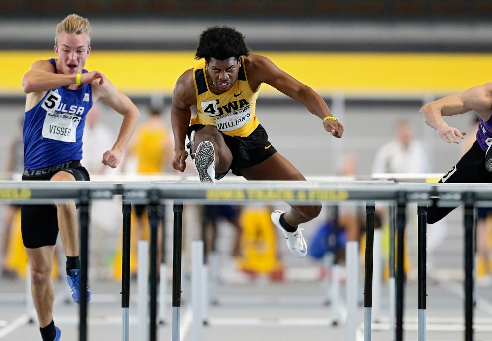 Iowa's Anthony Williams runs the men's 60 meter hurdles event at the Black and Gold Invite at the Recreation Building in Iowa City on Saturday, February 1, 2020. (Stephen Mally/hawkeyesports.com)