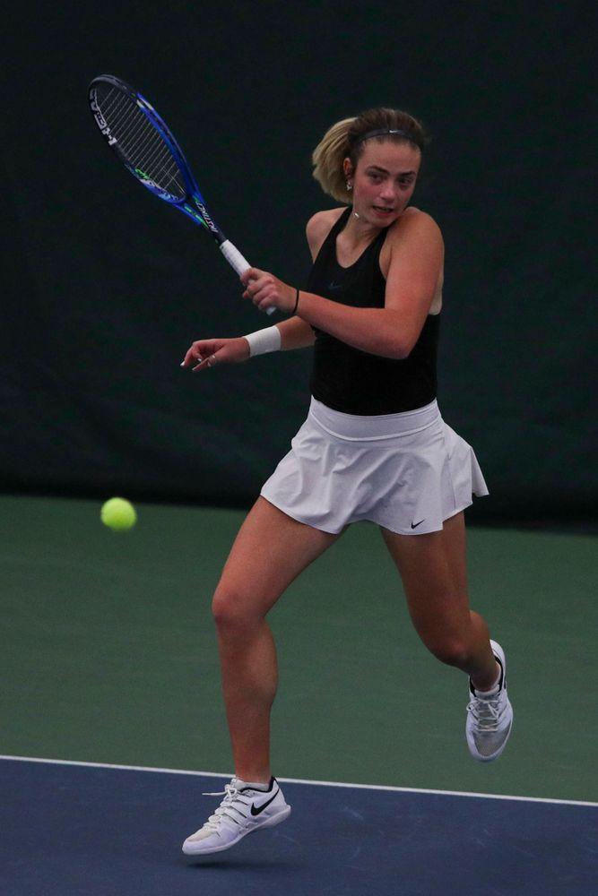 IowaÕs Samantha Mannix at womenÕs tennis senior day vs Nebraska on Saturday, April 13, 2019 at the Hawkeye Tennis and Recreation Complex. (Lily Smith/hawkeyesports.com)