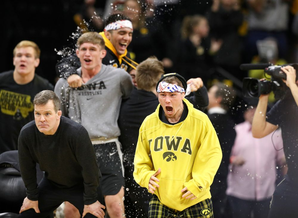 Iowa's Spencer Lee celebrates as Michael Kemerer defeats Penn State's Mark Hall in his 174-pound match during their dual at Carver-Hawkeye Arena in Iowa City on Friday, January 31, 2020. (Stephen Mally/hawkeyesports.com)