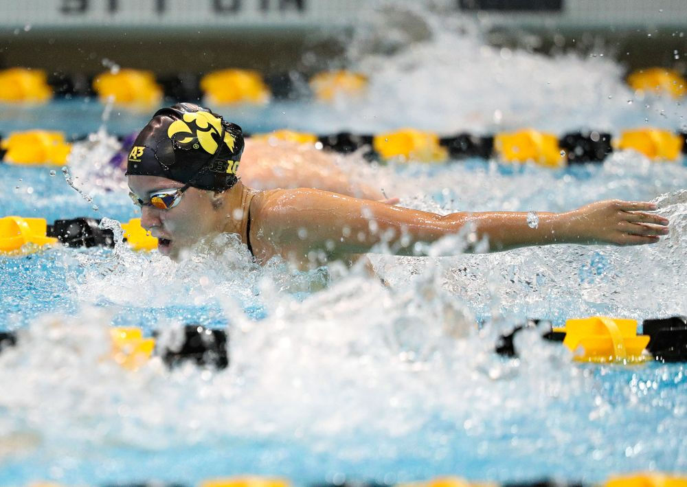 Iowa's Christina Kaufman swims the women's 200-yard butterfly event during their meet against Michigan State and Northern Iowa at the Campus Recreation and Wellness Center in Iowa City on Friday, Oct 4, 2019. (Stephen Mally/hawkeyesports.com)