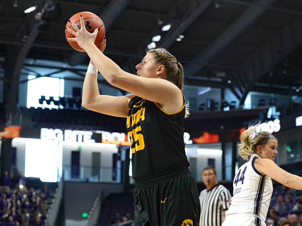 Iowa Hawkeyes forward Monika Czinano (25) makes a basket during the first quarter of their game at Welsh-Ryan Arena in Evanston, Ill. on Sunday, January 5, 2020. (Stephen Mally/hawkeyesports.com)