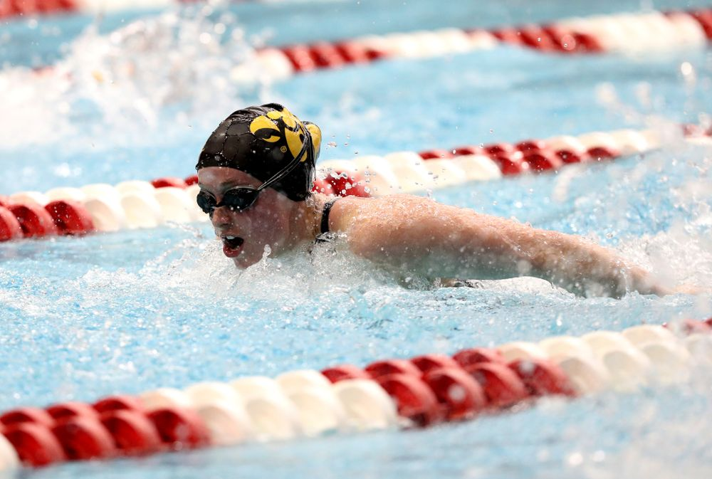 Iowa's Kelsey Drake swims the 200-yard IM during the 2019 Women's Big Ten Swimming and Diving meet Thursday, February 21, 2019 in Bloomington, Indiana. (Brian Ray/hawkeyesports.com)