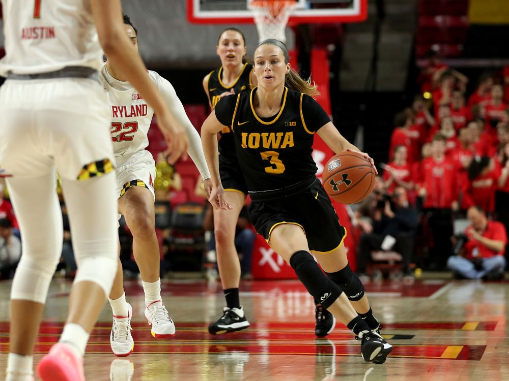 Iowa Hawkeyes guard Makenzie Meyer (3) against the Maryland Terrapins Thursday, February 13, 2020 at the Xfinity Center in College Park, MD. (Brian Ray/hawkeyesports.com)