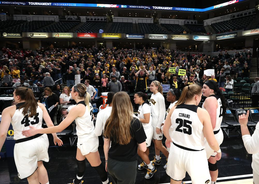 against the Indiana Hoosiers in the quarterfinals of the Big Ten Tournament Friday, March 8, 2019 at Bankers Life Fieldhouse in Indianapolis, Ind. (Brian Ray/hawkeyesports.com)