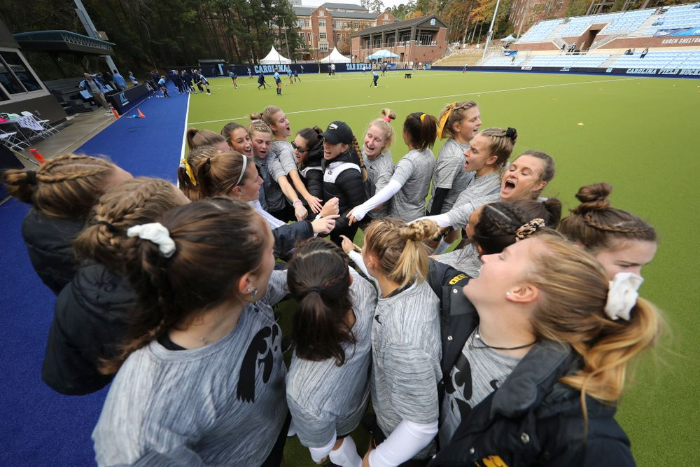 The Hawkeyes huddle before their NCAA Tournament Second Round match against North Carolina at Karen Shelton Stadium in Chapel Hill, N.C. on Sunday, Nov 17, 2019. (Stephen Mally/hawkeyesports.com)