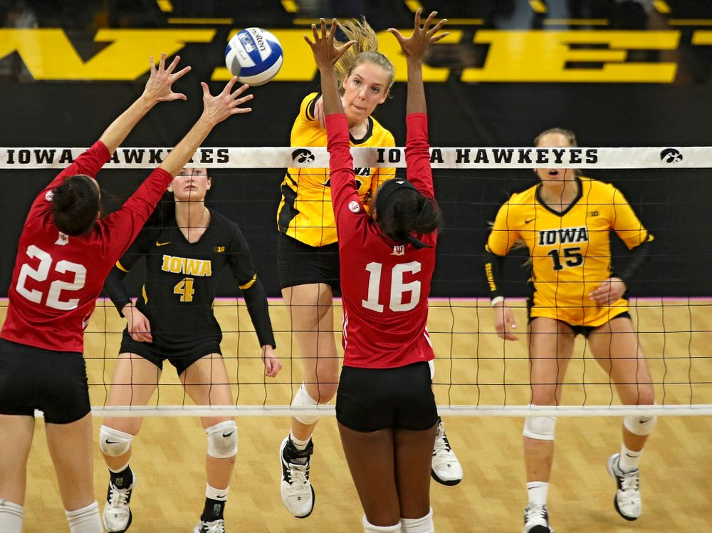 Iowa's Hannah Clayton (18) sends the ball over during their match at Carver-Hawkeye Arena in Iowa City on Sunday, Oct 20, 2019. (Stephen Mally/hawkeyesports.com)