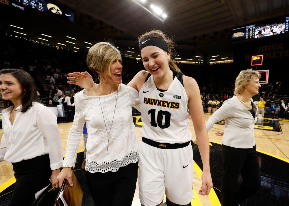 Iowa Hawkeyes associate head coach Jan Jensen and forward Megan Gustafson (10)